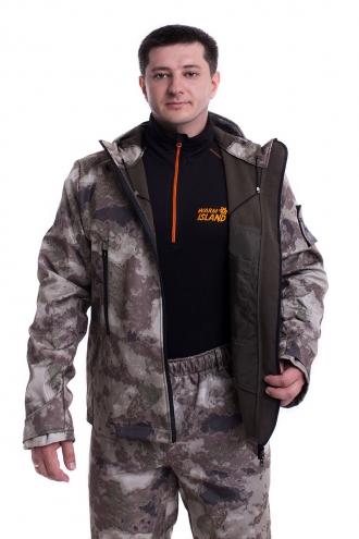 Демисезонный костюм «Софтшелл» серый камуфляж  (куртка и штаны)